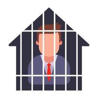 arresti domiciliari di un uomo in giacca e cravatta. mettere in quarantena una persona. illustrazione vettoriale piatta.