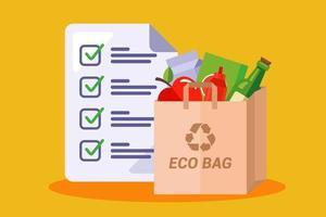 sacchetto di carta con generi alimentari. lista della spesa nel negozio. illustrazione vettoriale piatta