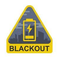segno di blackout su uno sfondo di città. la batteria è scarica. illustrazione vettoriale piatta.