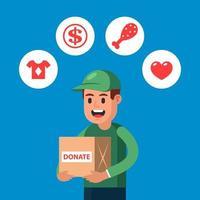 il giovane dona le cose in beneficenza. raccogliere fondi per le persone in tempi difficili. illustrazione vettoriale di carattere piatto.