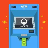 un hacker ha violato un bancomat e ruba denaro. illustrazione vettoriale piatta