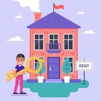 il padrone di casa affitta una casa in mattoni in affitto. illustrazione vettoriale piatta.