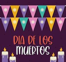 giorno messicano dei morti candele con gagliardetti vettore