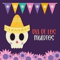 messicano giorno dei morti teschio con cappello e fiori disegno vettoriale