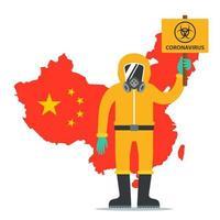 un uomo in tuta protettiva tiene un cartello con l'icona del coronavirus. epidemia in Cina. illustrazione vettoriale di carattere piatto.