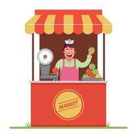 un venditore di mercato vende e pesa mele. una piccola tenda nel mercato. illustrazione vettoriale di carattere piatto.