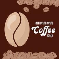 giornata internazionale del caffè con disegno vettoriale di fagioli