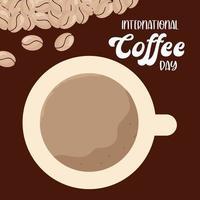 giornata internazionale del caffè e tazza con disegno vettoriale di fagioli