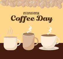 giornata internazionale del caffè con disegno vettoriale di tre tazze tazza e fagioli