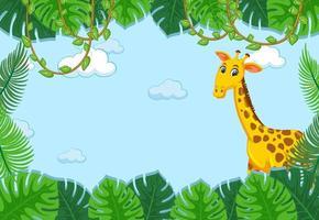 personaggio dei cartoni animati di giraffa con cornice di foglie tropicali vettore