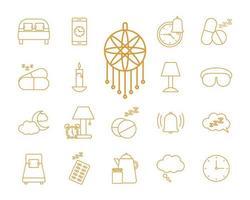 set di icone di stile di linea di insonnia vettore
