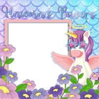 banner bianco con bellissimo personaggio dei cartoni animati di Pegasus vettore
