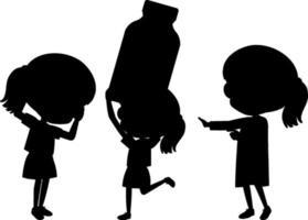 set di bambini silhouette personaggio dei cartoni animati vettore