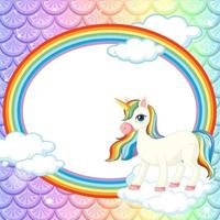 trama di squame di pesce pastello con cornice ovale arcobaleno con personaggio dei cartoni animati di unicorno vettore
