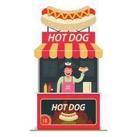 una bancarella di hot dog con dentro un allegro venditore. fast food di strada. illustrazione vettoriale di carattere piatto su uno sfondo bianco.