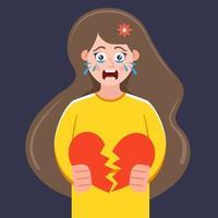 una ragazza dal cuore spezzato è in piedi e piange. rompere una relazione romantica. illustrazione vettoriale piatta.