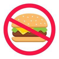 hamburger in un cerchio barrato. cibo spazzatura. divieto di fast food. illustrazione vettoriale piatta.