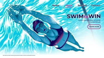 un'illustrazione vettoriale per l'interfaccia utente o la pagina di destinazione dell'atleta di nuoto femminile che si tuffa sott'acqua in piscina con determinazione negli occhi