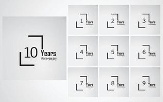 scatola dell'illustrazione di progettazione del modello di vettore di anniversario di anno
