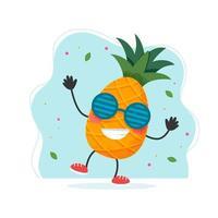 simpatico personaggio di ananas. design estivo colorato. illustrazione vettoriale in stile piatto