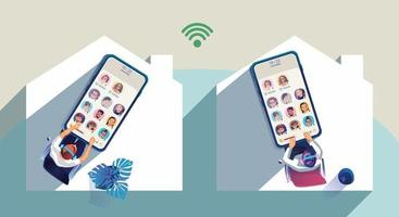 le persone usano le cuffie per ascoltare uno smartphone, lo schermo mostra lo stato delle persone che utilizzano applicazioni di social network, imparano o si incontrano online vettore