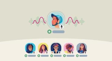 le persone usano le cuffie e ascoltano uno smartphone, lo schermo mostra lo stato delle persone che utilizzano applicazioni di social network, imparano o si incontrano online vettore