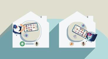 le persone usano le cuffie per ascoltare lo smartphone, lo schermo mostra lo stato delle persone che utilizzano applicazioni di social network, imparano o si incontrano online vettore