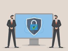 illustrazione di concetto di sicurezza della guardia digitale vettore