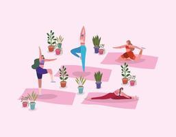 donne che lavorano con piante in vaso vettore