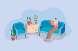 uomo che legge un libro sul divano design vettore