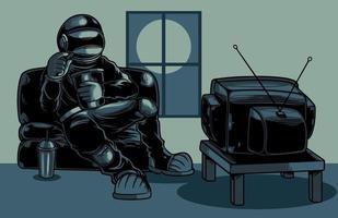 astronauta guardando la televisione personaggio dei cartoni animati vettore illustrazione piatta. cool cosmonauta seduto sul divano a guardare la tv mentre mangia popcorn. buono per poster, logo, adesivi o articoli di abbigliamento.