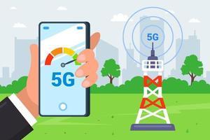 una torre che distribuisce Internet 5g. mano tiene uno smartphone che misura la velocità di Internet. illustrazione vettoriale piatta.
