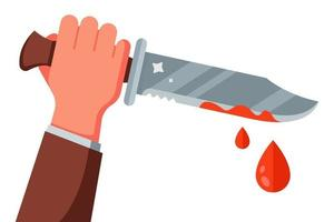 mano con un coltello macchiato di sangue. un crimine è stato commesso con un coltello. illustrazione vettoriale piatta.