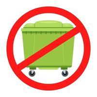 segno di divieto per bidoni della spazzatura. barrata non icona lettiera. illustrazione vettoriale piatta.