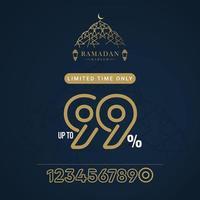 sconto di vendita di Ramadan fino a 99 illustrazione di progettazione del modello vettoriale solo per un tempo limitato