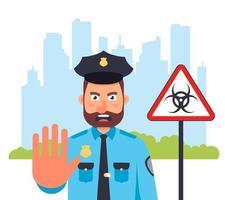 la città è in quarantena. il poliziotto che dice stop. coprifuoco per strada. illustrazione vettoriale piatta.