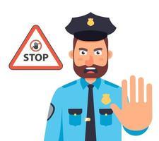 poliziotto con una mano ferma il movimento. segnale di stop nel triangolo. illustrazione vettoriale di carattere piatto.