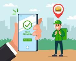 il corriere consegna fast food a un cliente. l'uomo tiene un telefono cellulare e tiene traccia della consegna. illustrazione vettoriale piatta.