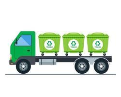 trasporto su camion di bidoni della spazzatura. illustrazione vettoriale piatta.