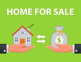 affare vendita casa. noleggiare. illustrazione vettoriale piatta.