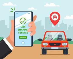 un uomo noleggia un'auto tramite un'applicazione mobile. illustrazione vettoriale piatta.
