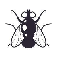 segno di una mosca nera su sfondo bianco. illustrazione vettoriale piatta.