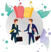 affare business handshake icona illustrazione cerchio cornice vettore