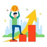 aumento dei prezzi per il consumatore. pianificazione del reddito della popolazione. illustrazione vettoriale piatta.