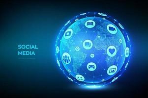 concetto di connessione social media. Sfera wireframe composta da diversi social media e icone del computer. punto della mappa del mondo e composizione della linea. globo del pianeta terra. vettore