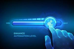 aumento del livello di automazione. rpa robotica automazione dei processi innovazione tecnologica concetto. La mano del wireframe si sta spostando verso la barra di avanzamento della posizione massima con l'icona degli ingranaggi. vettore