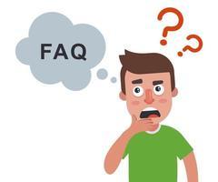 risposte alle domande frequenti. l'uomo pensa. illustrazione vettoriale piatta.