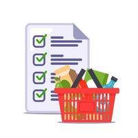 l'uomo ha fatto una lista della spesa per il negozio. ricetta. illustrazione vettoriale piatta