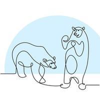 un unico disegno a tratteggio continuo di due orsi panda nella terra dei ghiacci. un panda gigante nella foresta. illustrazione disegnata a mano di vettore di stile di minimalismo di concetto della mascotte degli animali selvatici di inverno.
