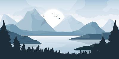 illustrazione di disegno vettoriale di sfondo bellissimo paesaggio di montagna